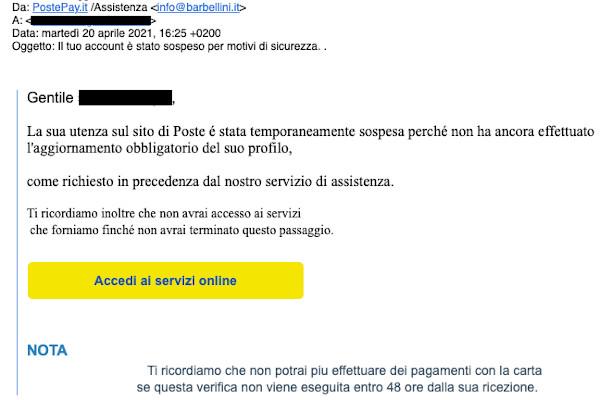 Email di accesso di Poste Italiane