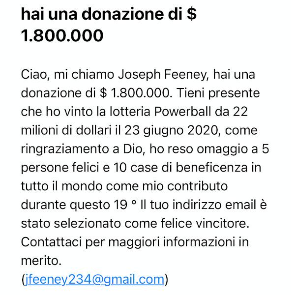Mail donazione