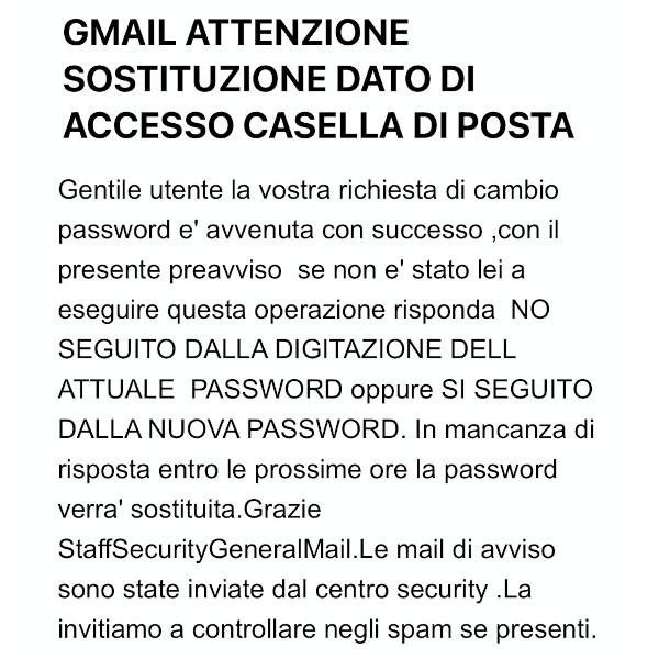 mail di richiesta password