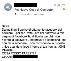 Recuperare un account Facebook: richiesta di Cosa di Computer