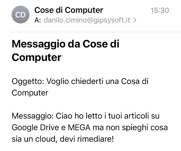 Cos'è un cloud - Messaggio ricevuto da un follower
